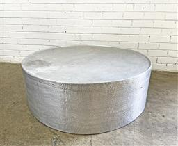 Sale 9102 - Lot 1081 - Hammered Metal Coffee Table with antique silver effect (h37 x d107cm) -