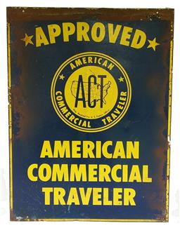 Sale 9142A - Lot 5101 - An original mid-century advertising metal painted sign American Commercial Traveler (double-sided), 68 x 51 cm -