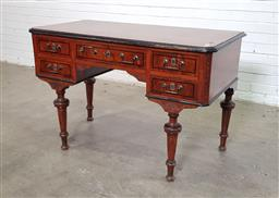 Sale 9162 - Lot 1057 - 19th Century German Desk, with mahogany top, the five burr veneered drawers around a knee-hole, raised on inset turned legs (h79 x w...