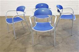 Sale 9188 - Lot 1031 - Set of four stackable metal framed Arper chairs (h:78 x w:58 x d:54cm)