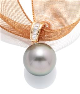 Sale 9253J - Lot 510 - AN 18CT GOLD TAHITIAN PEARL AND DIAMOND PENDANT; a 12.5mm round fine cultured pearl on an 18ct gold bale channel set with 7 baguette...