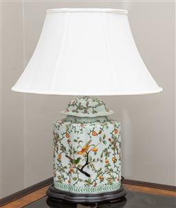 Sale 9260M - Lot 15 - An Oriental themed ceramic table lamp with cream shade, total Height 67cm