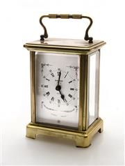 Sale 8202A - Lot 1 - An early French brass carriage clock by Bayard Paris, H 12cm, damage to glass on side panel