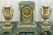Sale 8338A - Lot 47 - A French green marble and gilt metal mounted clock garniture, clock with gilt dial and two swan neck handle vases, with mark to move...