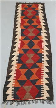 Sale 8445K - Lot 95 - Maimana Afghan Kilim Rug , 158x44cm, Handwoven in Northern Afghanistan using durable local wool. Traditional and reversible slit wea...