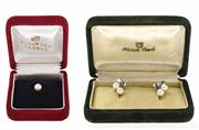 Sale 8527 - Lot 329 - VINTAGE MIKIMOTO BOXED EARRINGS AND UNSET PEARL; earrings with screw fittings set with four 5.5-5.8mm round cultured Akoya pearls, a...