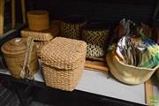 Sale 8530 - Lot 2387 - Collection of Textiles, Bamboo & Wicker Wares incl. Ice Bucket, Containers, etc