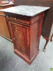 Sale 8559 - Lot 1049 - 19th Century French Mahogany Bedside cabinet, with mottled grey marble top, having a drawer & panel door