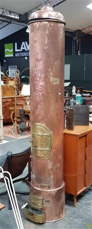 Sale 8625 - Lot 1052 - Very Large French Copper Wood Water Heating Stove (H: Approx 257cm)