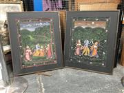 Sale 8726 - Lot 2077 - A pair of Indo-Persian paintings, gouache on cotton, 73.5 x 61cm (frame size)