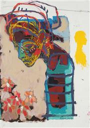 Sale 8847A - Lot 5097 - Artist Unknown mixed media on paper - Untitled (Portrait Study 2004) 53 x 30.5 cm