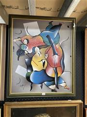 Sale 8891 - Lot 2088 - Artist Unknown - Musiciansacrylic, 66 x 57cm (frame), signed lower left