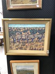 Sale 8903 - Lot 2002 - Edna Garran-Brown Emus oil, 46 x 57cm (frame), signed