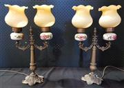 Sale 8971 - Lot 1001 - Pair of Ornate Brass Table Lamps with Ceramic and Glass Shades (H:50cm)