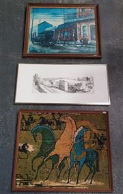 Sale 8973 - Lot 2079 - William Dobell Decorative Print together with Vintage Textile and Cityscape Etching of Cityscape.