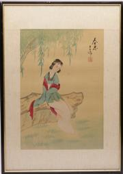 Sale 9032 - Lot 29 - A Framed Chinese Watercolour of A Girl (37cm x 52cm)