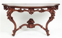 Sale 9099 - Lot 2 - A carved Walnut console table in the Louis XV manner, Width 140cm x 74 x 49cm