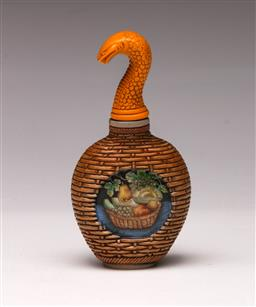 Sale 9122 - Lot 178 - An Unusual Chinese Snuff Bottle with Snakehead Stopper (H: 12cm)