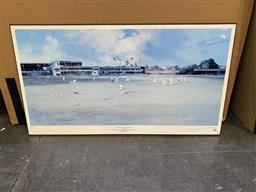 Sale 9176 - Lot 2130 - Signed Darcy Doyle print, picnic day, the Gabba,frame: 55 x 100 cm -