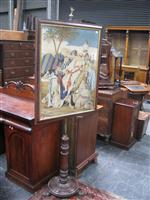 Sale 7919A - Lot 1696 - Large Victorian Mahogany Pole Screen with a Good Needle Work Panel Depicting Arabian Scene on Turned Pedestal