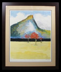 Sale 7923 - Lot 536 - Arthur Merric Bloomfield Boyd - Flame Trees and Pulpit Rock 80 x 65cm