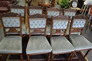 Sale 8050B - Lot 28 - Set Of Four Plus Another Four Matching Edwardian Dining Chairs With Blue Velvet Upholstery