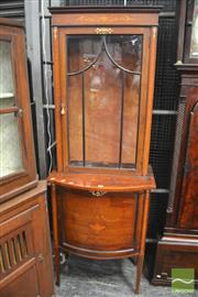 Sale 8317 - Lot 1028 - Late Victorian Inlaid Mahogany Display Cabinet, with gilt metal mounts & satinwood banding, an astragal door above a bowed front doo...