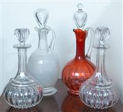 Sale 8800 - Lot 134 - A small collection of decanters, including cranberry glass example, tallest H 29cm