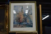 Sale 8410T - Lot 2017 - Wilmotte Williams Sydney Town Hall & Queen Victoria Building, decorative print, 82 x 72.5cm (frame size)