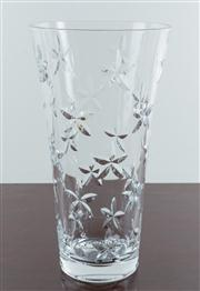 Sale 8435A - Lot 28 - A Tiffany & Co trumpet form crystal glass vase with jasmine decoration, H 30cm