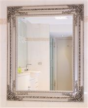 Sale 8568A - Lot 150 - An antique style silver finished rectangular mirror, 160 x 130cm