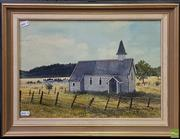Sale 8609 - Lot 2040 - Perena Tuckfield - Church of Yesteryear, 1985, gouache and watercolour, 39 x 27cm, signed and dated lower right