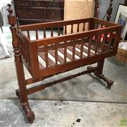Sale 8649R - Lot 162 - Colonial Cedar Cot with Turned Supports (H: 98 W: 103.5 D: 36cm)