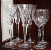 Sale 8868H - Lot 61 - Four Waterford celebratory crystal flutes, Height 23.5cm with original boxes, together with two Royal Doulton glasses