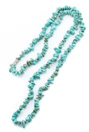 Sale 8946 - Lot 326 - A TURQUOISE BEAD NECKLACE; 5-10mm tumbled turquoise beads to magnetic clasp, length 89cm.