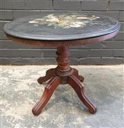 Sale 8993 - Lot 1082 - Victorian Painted Round Black Slate Top Occasional Table,  with a floral bouquet within gilt border, on an associated timber pedesta...