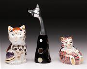 Sale 9078 - Lot 6 - A Crown Derby Feline (H 8cm) Together with A Porcelain Cat Figure (H 12cm) and Another (H 19cm)