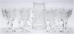 Sale 9099 - Lot 178 - A Webb crystal drink suite including eleven goblets, Height 16cm, and one jug (cracked) plus nine goblets, Height 15cm, and nine des...