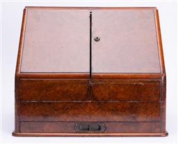 Sale 9185E - Lot 34 - A Victorian writing compendium with two doors and one lower drawer, Height 34.5cm x 40.5cm x Depth 26cm, opening to reveal document...