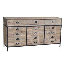 Sale 9250T - Lot 37 - A reclaimed solid elm six drawer sideboard on an aged metal base Height 85cm x Width 160cm x Depth 45cm