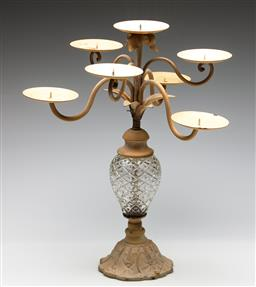Sale 9253 - Lot 119 - A figural cast metal and glass pricket table candlestick (H:46.5cm)