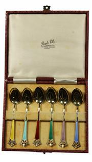 Sale 7988 - Lot 61 - Norwegian Sterling Silver Gilt & Enamel Set of Six Coffee Spoons & Another Set