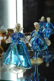Sale 8086 - Lot 21 - Murano Blue Glass Pair of Figures