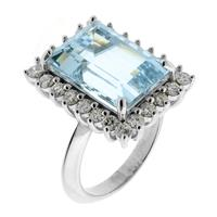 Sale 8171A - Lot 83 - An 18ct white gold aquamarine and diamond ring, approx 7.9ct aquamarine and 24 round brilliant cut diamonds, size M1/2