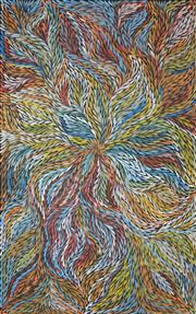 Sale 8266 - Lot 520 - Jeannie Petyarre (1956 - ) - Bush Yam Leaf 155 x 100cm