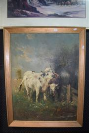 Sale 8410T - Lot 2026 - Artist Unknown (Early C20th European School) - Bulls at Pasture 80 x 60cm