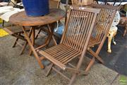 Sale 8499 - Lot 1297 - Timber Five Piece Fold Out Outdoor Setting incl. Table & Four Chairs