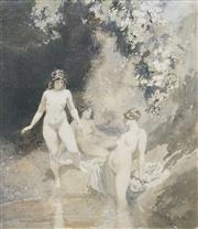 Sale 8538 - Lot 548 - Norman Lindsay (1879 - 1969) - Bathers, 1919 37.5 x 32.5cm