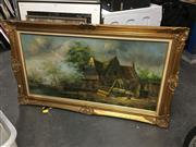 Sale 8702 - Lot 2088 - Artist Unknown - European Country Cottage Scene, acrylic on canvas, 80 x 142cm (frame size), signed Baillie lower left