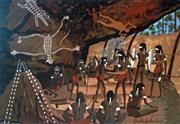 Sale 8715A - Lot 5022 - Dick Roughsey (1924 - 1985) - Return of the Hunting Party - Cape York 45.5 x 63cm